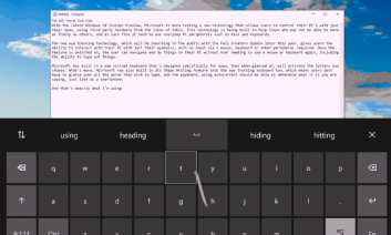 Screenshot: Top half of screen shows text & bottom shows onscreen keyboard with line following eye gaze from H to selected T.