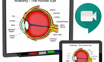 Image has Smartboard with the anatomy of an eye and a tablet with the same image. The icon for Google Meet is included.