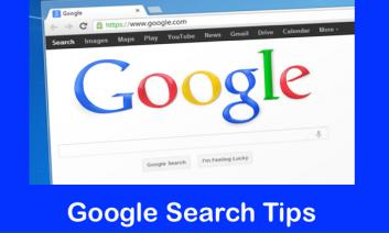"Image of computer with Google Search screen and text, ""Google Search Tips"""