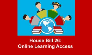 """cartoon drawing of students at computers with stacked books and text, """"House Bill 26 Online Learning Access"""""""