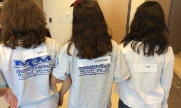 Students stand with labels from this activity on their backs.