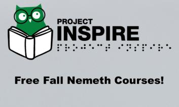 """Project Inspire logo and text, """"Free Fall Nemeth Courses!"""""""