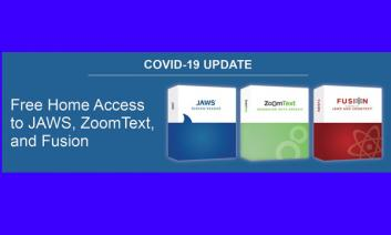 "images of JAWS, ZoomText and Fusion and text, ""Free Access to JAWS, ZoomText, and Fusion"""