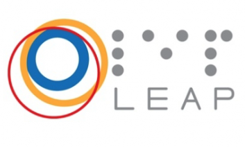 """Logo brightly colored circles with the braille and print text, """"LEAP""""."""