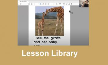 Screenshot of remote instruction video book and teacher signing the book.