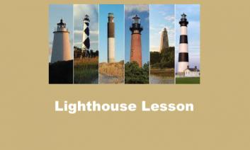 """Image of 6 NC lighthouses and text, """"Lighthouse lesson"""""""