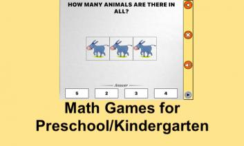 """Screenshot of Math Melodies counting game and text, """"Math Games for Preschool/kindergarten"""""""
