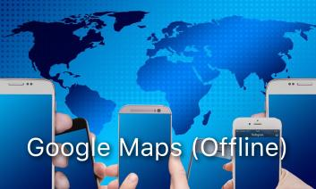 """Hands holding smart phones in front of a world map.  Text: """"Google Maps (offline)""""."""