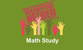 """Raised hands and Volunteer sign with text, """"Math Study"""""""