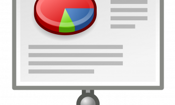 Drawing of a large screen displaying a PowerPoint presentation with a pie chart graphic and lines for text.