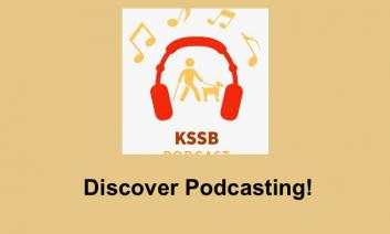 """KSSB's podcast logo and text, """"Discover Podcasting!"""""""