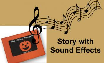 """Cover of APH's The Littlest Pumpkin tactile book, music notes and text, """"Story with Sound Effects""""."""