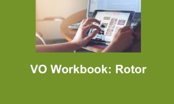 """Image of Rotor Pinch fingers on an iPad and text, """"VO Workbook: Rotor"""""""