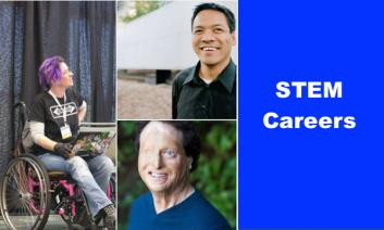 """collage of three photos: Liz, Jennison and Josh with text, """"STEM Careers"""""""