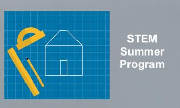 """Image of technical drawing tools and outline of a drawn house and text, """"STEM Summer Program"""""""