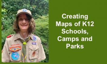 """Photo of Shepard in his Eagle Scout uniform and text, """"Creating Maps of K12 Schools, Camps, and Parks."""""""