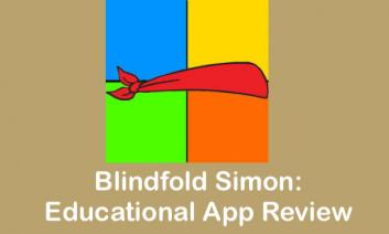 """Blindfold Simon logo and text, """"Blindfold Simon: Educational App Review"""""""