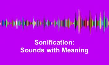 """Colorful sound waves with text, """"Sonification: Sounds with Meaning"""""""