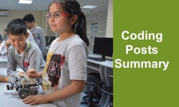 """Two elementary students working with a robot and computer in the background with text, """"Coding Posts Summary"""""""