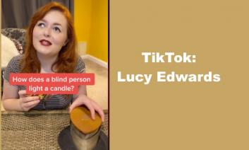 """Screenshot of Lucy lighting a candle with text, """"TikTok Lucy Edwards"""""""