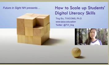 """Screenshot of video: """"How to Scale up Students' Digital Literacy Skills, Ting Siu, TVI/COMS, Ph.d"""" and headshot of Dr. Ting."""