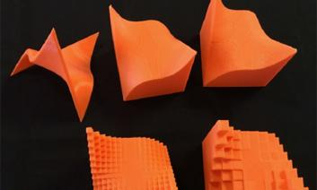 Various shapes in orange color in 3d.