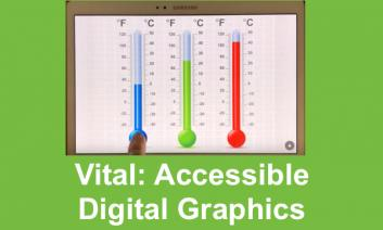 """Screenshot of Thermometers on Vital app with text, """"Vital: Accessible Digital Graphics"""""""