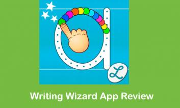"Writing Wizard app logo and text, ""Writing Wizard App Review"""