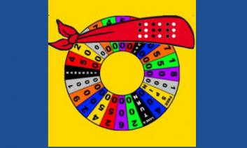 Blindfold Spin and Save logo: red blindfold bandana around a Wheel of Fortune spinner wheel.