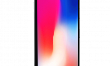 iPhone X: iPhone with a screen that covers the full front; no Home button.