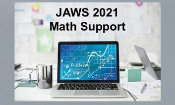 """Image of a computer displaying various math equations and text, """"JAWS 2021 Math Support"""""""