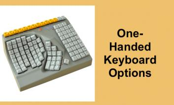 "Maltron one-handed ergonomic keyboard with text, ""One-handed Keyboard options""."