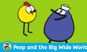 """Cartoon images of Peep and Quack with the text, """"Peer and the Big Wide World, PBS Kids"""""""
