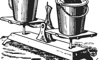 An image of a scale holding two buckets, one has something in it, but they appear to weigh the same