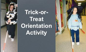 """4 year old dressed as a cow walking with cane and 5 year old dressed as a witch, with text, """"Trick-or-treat Orientation Activity"""