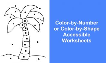 """Photo of a color-by-shape coconut tree coloring page with text, """"Color-by-Number or Color-by-Shape Accessible Worksheet."""""""