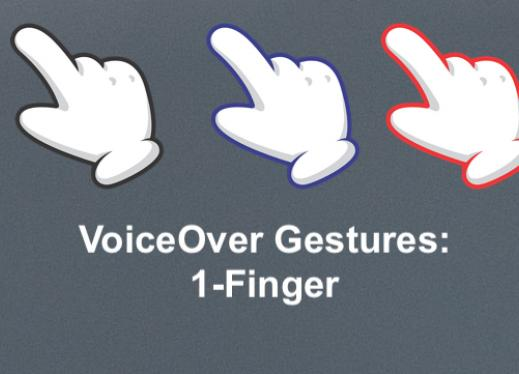 "three cartoon hands with 1 finger pointing; text, ""VoiceOver Gestures: 1-finger"""