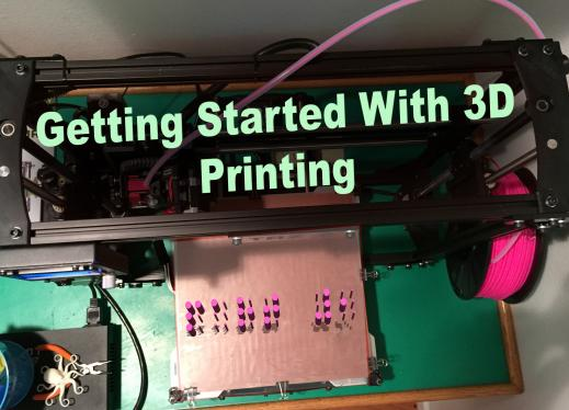 """Getting Started with Printing"": Photo of a 3D printer with a 3D printed braille letters, ""Part 1""."
