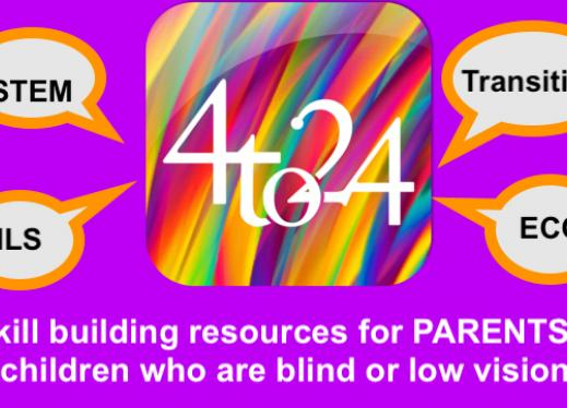 """4to24 app logo, & text, """"STEM, ILS, Transition, ECC. Skill building resources for parents of children who are Blind & low vision"""