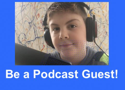 Photo of Ari, 11 year old AtYourLevel podcast host, wearing a headset in front of his computer.