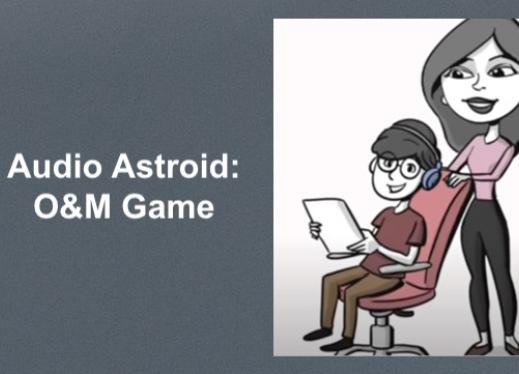 """Cartoon image of Jose in a swivel chair with headphones holding an iPad and Sara standing behind him. """"Audio Astroid: O&M Game"""""""