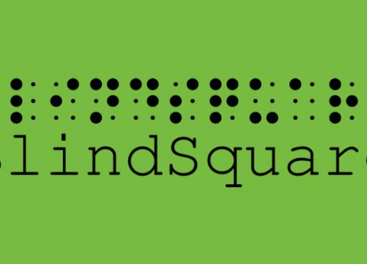 BlindSquare logo: Braille 'BlindSquare' with transcribed print below.