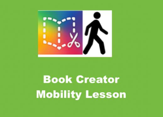 Book Creator logo, Man walking outline and text, 'Book Creator Mobility Lesson""