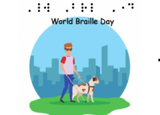 """Image of a young man with a guide dog and the text, """"World Braille Day"""" in print and simulated contracted braille."""