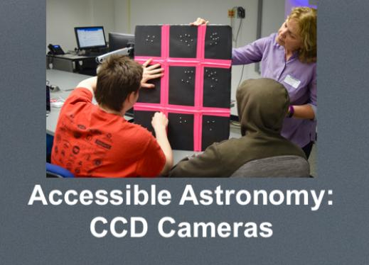 """An astronomer with 2 high school students exploring a tactile model of light captured by a CCD Camera. """"Accessible Astronomy"""""""