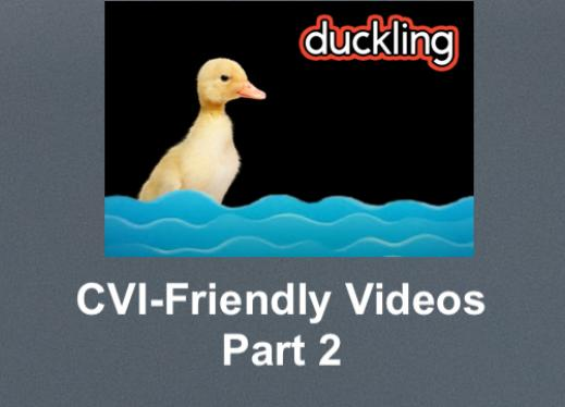 """Photo of a duck in water and CVI-bubbled """"duckling"""" with text, CVI-Friendly Videos Part 2"""""""