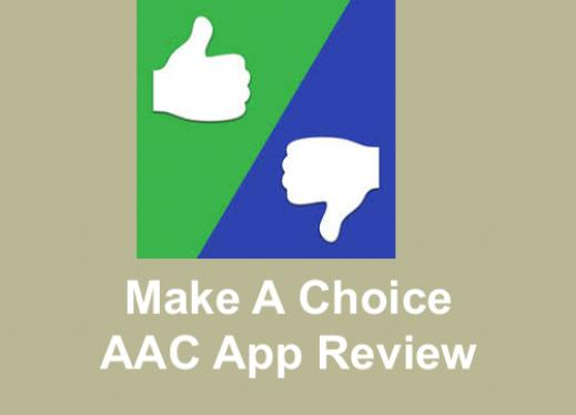 """Logo and text, """"Make a Choice AAC App Review"""""""