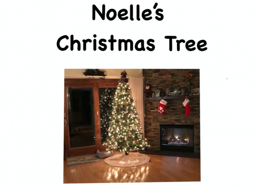 Cover page of the digital book Noelle's Christmas Tree with an image of a Christmas tree with white lights next to a fireplace