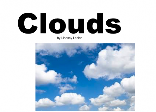 """Cover of the Clouds iBook with the text, """"Clouds, by Lindsey Lanier""""."""