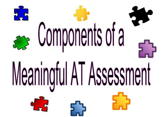 "Image with puzzle pieces and the text, "" Meaningful AT Assessment"""